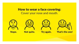 How to wear a face covering. Cover your nose and mouth.