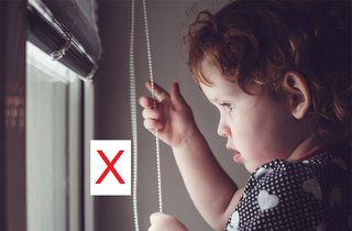 Window blind cords or chains can strangle